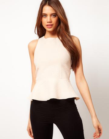 Asos Textured Top With Peplum