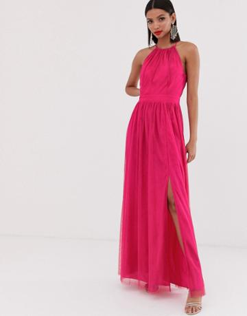 Little Mistress Gathered Neck Pleated Maxi Dress In Fuschia - Pink