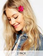 Asos Pack Of 2 Hot Flower Hair Clips - Pink