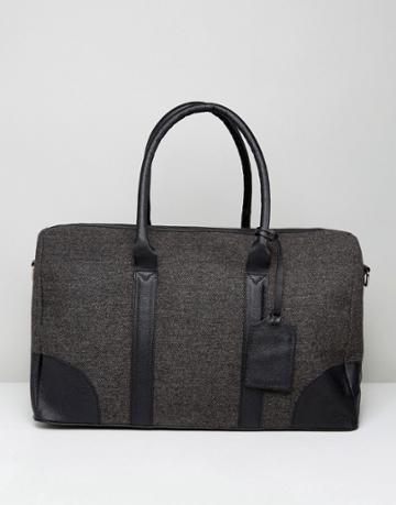 Asos Carryall In Gray Tweed With Leather Trims - Gray