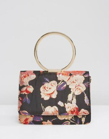 Asos Floral Ring Handle Cross Body Bag With Detachable Strap - Multi