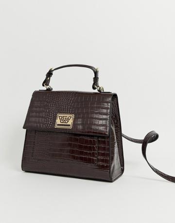 Asos Design Croc City Bag With Plate Detail - Brown