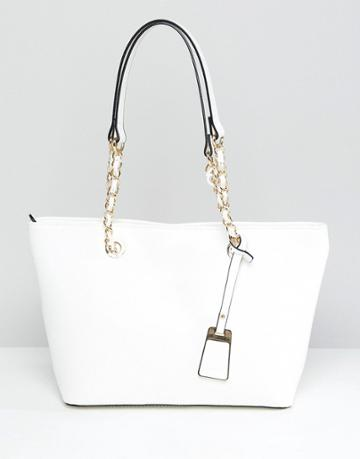 Aldo Structured Shopper Tote Bag With Chain Detail Handle - White