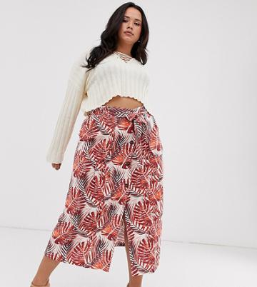 Asos Design Curve Column Midi Skirt In Jungle Floral Print - Multi