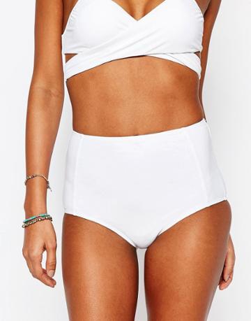 South Beach Mix And Match High Waist Bikini Bottom - White