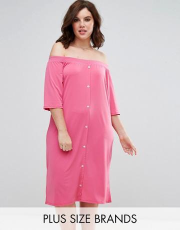 Pink Clove Bardot Shirt Dress With Button Front - Pink