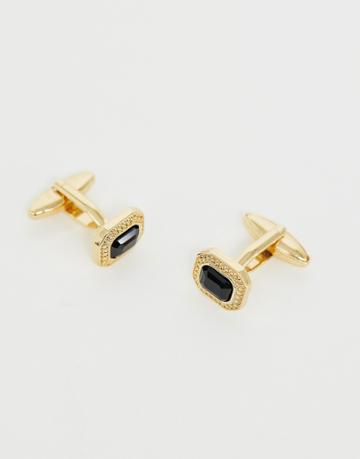 Designb Black Cut Glass Cufflinks In Gold - Gold