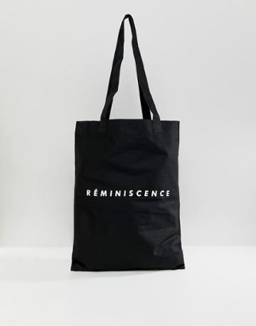 Asos Design Tote Bag In Black With Reminisce Print - Black