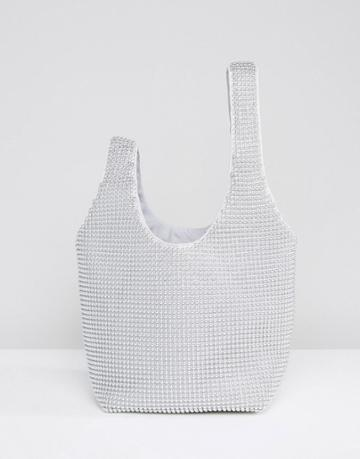 Asos Beaded Chainmail Grab Pouch Bag - Silver