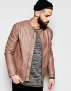 Only & Sons Faux Leather Biker Jacket - Tan