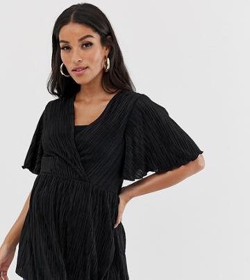 Asos Design Maternity Nursing Plisse Wrap Top With Flutter Sleeve In Black - Black