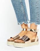 Asos Fergie Two Part Chunky Sandals - Gold