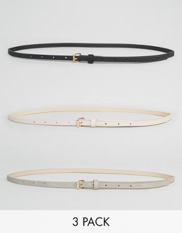 New Look 3 Pack Skinny Belts - Black