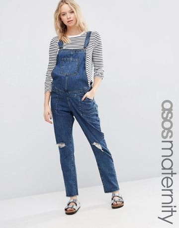 Asos Maternity Denim Overall With Rips - Blue