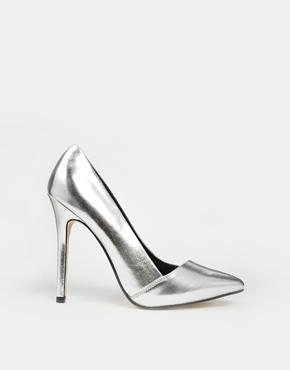 Asos Pensive Pointed High Heels - Silver