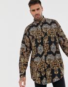 Asos Design Dropshoulder Oversized Baroque Print Shirt - Black