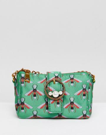 Asos Bug Jacquard And Pearl Buckle Cross Body Bag - Green