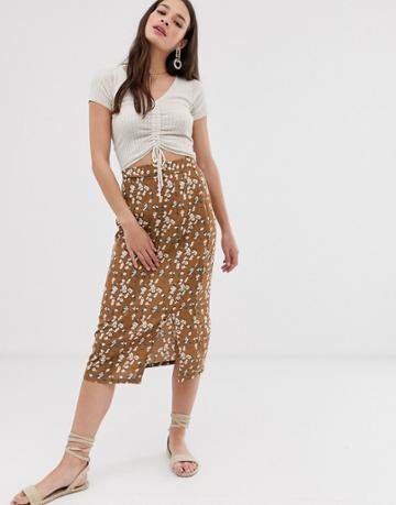 Daisy Street Midi Skirt In Ditsy Floral Print - Multi