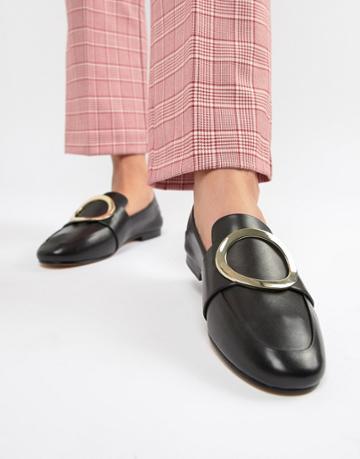 Aldo Cadericia Metal Trim Leather Loafers - Black