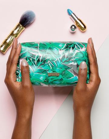 Skinnydip Palm Print Makeup Bag - Green
