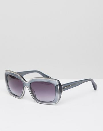 Christian La Croix Square Sunglasses In Gray - Gold