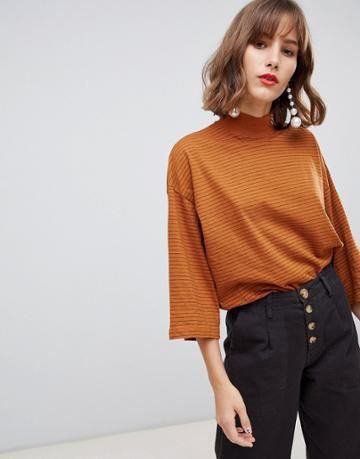 Stradivarius Str Striped High Neck Top In Rust - Beige