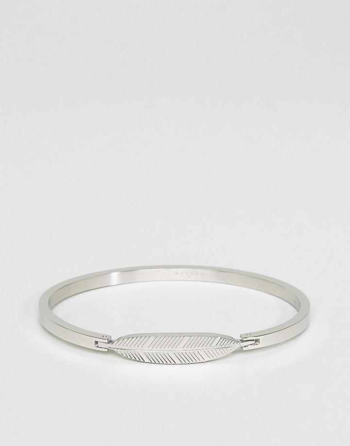 Mister Axle Feather Bangle Bracelet In Silver - Silver