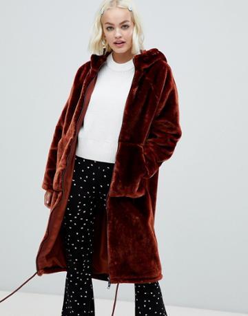 Monki Faux Fur Zip Hooded Coat In Brown - Brown
