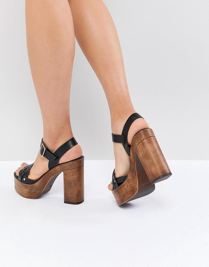 Asos Design Troop Leather Plaited Heeled Sandals - Black