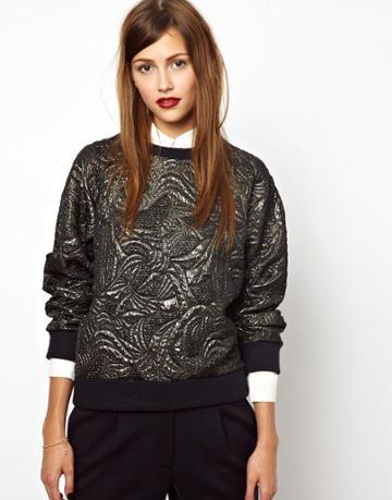 Les Prairies De Paris Woven Sweatshirt In Metallic Brocade