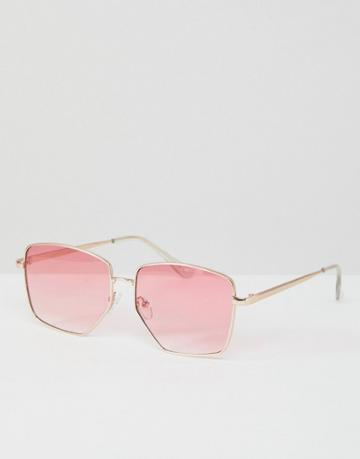 Asos Metal Cut Away Detail Square Fashion Sunglasses In Pink Fade Lens - Gold