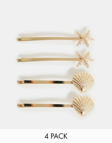 Asos Design Pack Of 4 Hair Clips With Shell And Starfish Design In Gold - Gold