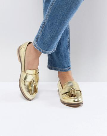 Asos Mogul Leather Loafers - Gold