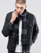 Asos Woven Scarf In Black And Gray Check - Black