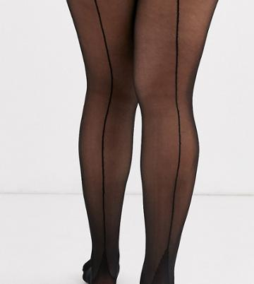 Asos Design Curve Superstretch Tights With Jive Backseam - Black