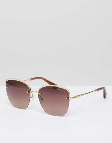 Christian La Croix Cat Eye Sunglasses In Gold - Gold