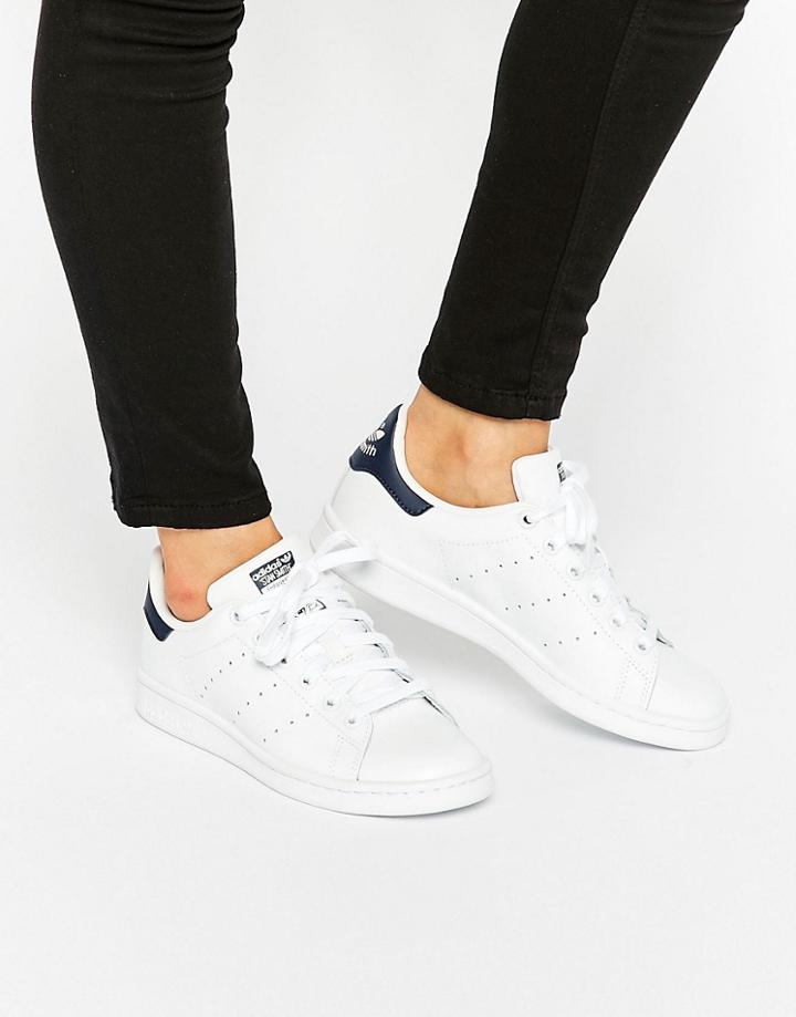 Adidas Originals White And Navy Stan Smith Sneakers - White