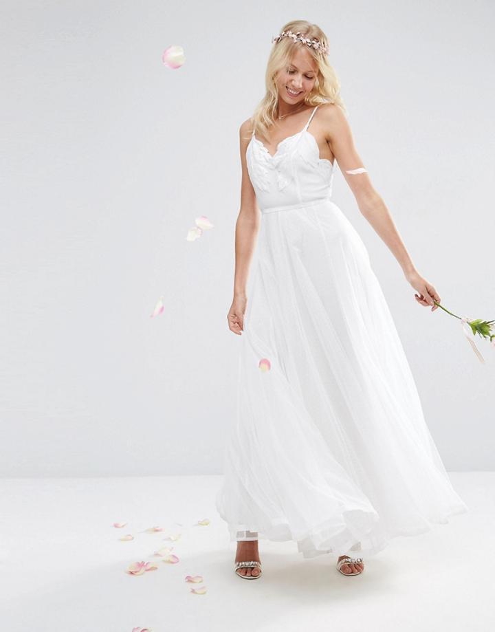 Asos Bridal Embroidered Cami Mesh Maxi Dress - White