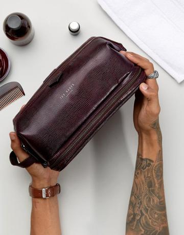 Ted Baker Zip Leather Toiletry Bag In Oxblood - Red