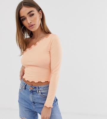 Asos Design Petite One Shoulder Long Sleeve Crop T-shirt With Lettuce Hem In Coral - Pink