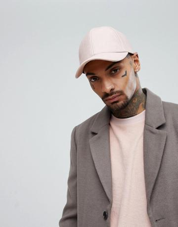 Asos Baseball Cap In Pink Faux Leather - Pink