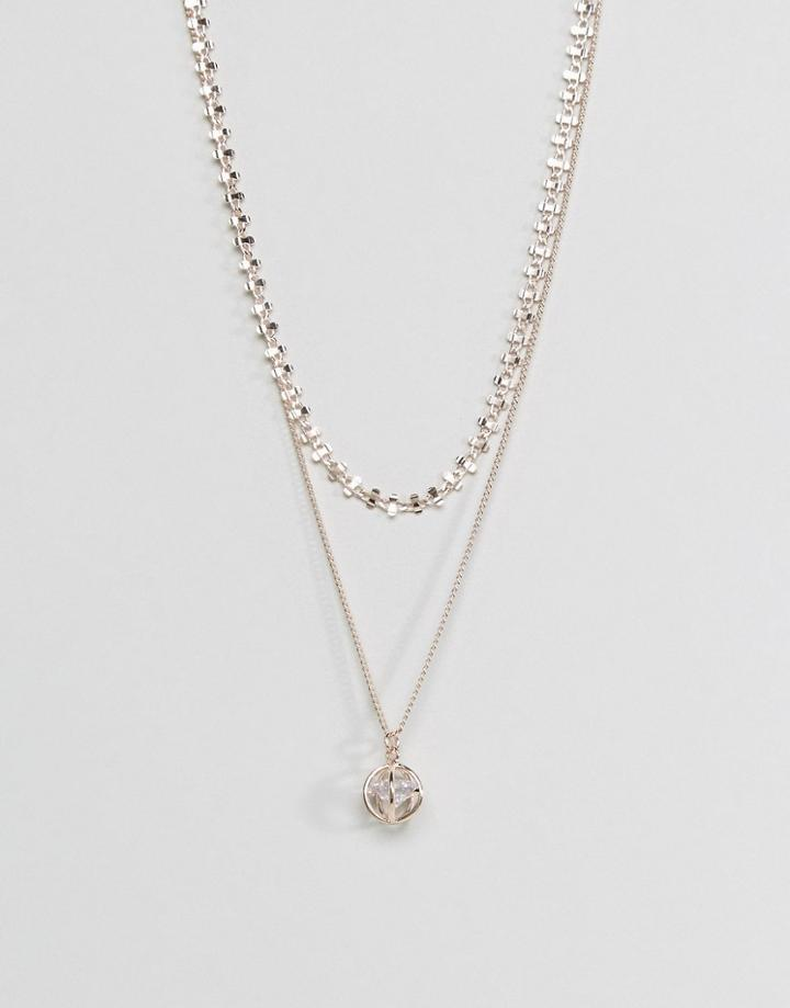 Asos Fine Bar Chain Multirow Necklace - Copper