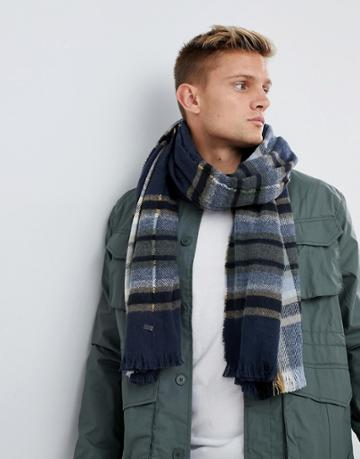 Esprit Knitted Checked Scarf - Navy