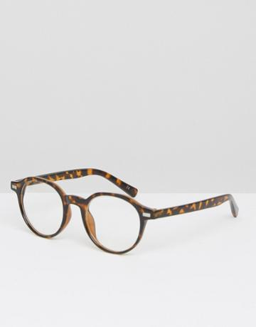 Asos Angular Round Clear Lens Glasses In Tort - Brown