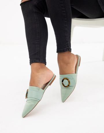 Asos Design Limit Buckle Pointed Mules In Mint - Green