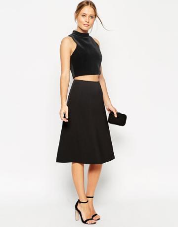 Asos Midi Skirt In Scuba Fabric - Black