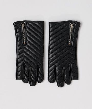 Asos Design Leather Quilted Gloves - Black