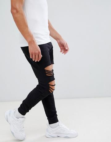 Asos Design Skinny Joggers With Rips - Black