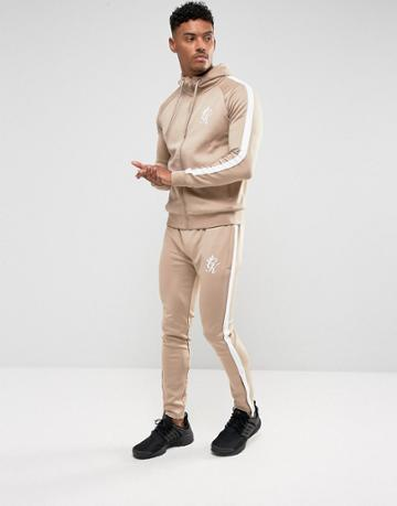 Gym King Skinny Track Joggers In Stone - Stone