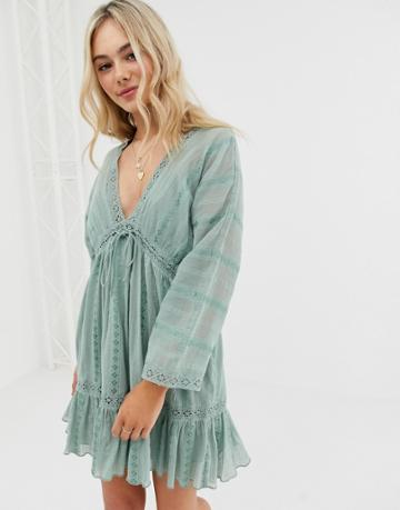 Asos Design Lace Insert Mini Smock Dress With Lace Up Detail - Green
